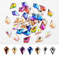 10Pcs/Bag Shaped Nail Rhinestone AB Colors Flat Back Crystal 3D Nail Decoration
