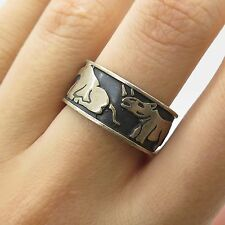 Mexico 925 Sterling Silver Savanna Animals Handmade Wide Men's Band Ring Size 8