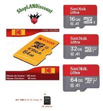 carte SD SDHC SDXC mémoire micro sandisk  u1 kodak u3 16 32 64 Go 0619659136611