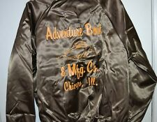 Vtg 60's Men's Bomber Jacket Brown Nylon Name Bruce Adventure Boat Mfg Chicago