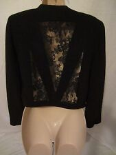 Impression Paris Lined Women's Crop Blazer Jacket w/Lace Inserts Fits Like Small