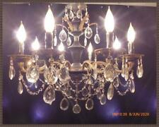 Vintage Antique Brass Chandelier Vintage Crystals Black Accents 8 lights LQQK!!