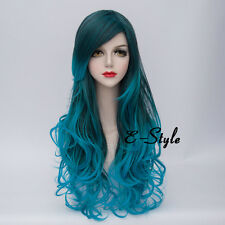 80CM Women Mixed Blue Hair Long Curly Lolita Heat Resistant Cosplay Party Wig