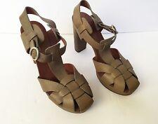SEE BY CHLOE Olive Green Heels Platforms SZ 7.5 EU 37.5