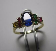 Genuine 14K Gold Mother's Birthstone Ring, Family Jewelry Marked Size 8