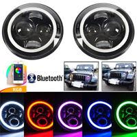 2x 7Zoll H4 LED Front Scheinwerfer RGB Angel Eyes Bluetooth für Jeep Ford Lada