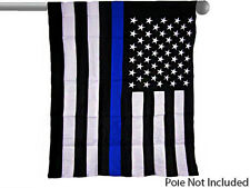 "EMBROIDERED USA POLICE BLUE 300D NYLON GARDEN BANNER/FLAG 28""X40"" SLEEVED"