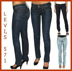 levi's 571 jeans levis donna elasticizzati a vita bassa slim fit w27 w28 w29 w30