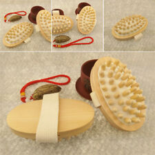 Hand-Held Body Brush Cellulite Reduction Relieve Tense Muscles Wooden Massager