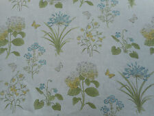 Sanderson Curtain Fabric 'Harebells & Violets' 1.3 METRES Lemon/Teal 100% Linen