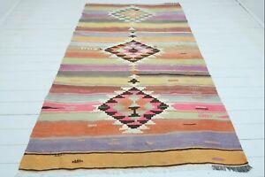 """Turkish Corum Kilim Rug, Diamond Design Rug, Area Rugs, Carpet, Wool Rug 61""""x97"""""""