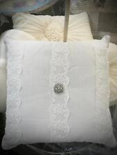 Shabby French Chic Provincial Rhinestone Ivory Square Lace Cushion Toss Pillow