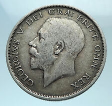 1915 Great Britain United Kingdom UK King GEORGE V Silver Half Crown Coin i78141