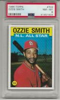 1986 TOPPS #704 OZZIE SMITH, PSA 8 NM-MT, ST. LOUIS CARDINALS, L@@K !