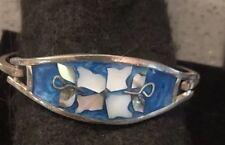 Vintage Alpaca Blue Enamel MOP Abalone  Flower Hinged Bracelet Flowers