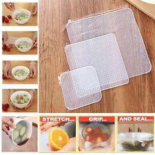 3PCS/Set Kitchen Stretch Reusable Silicone Bowl Wraps Food Saver Cover Seal Lids