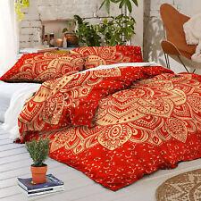 Exclusive Gold Ombre Mandala King Duvet Cover Indian Red Blanket Set Reversible