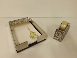 Silver Plated Matching Desk Top Tape Dispenser & Note Paper Holder