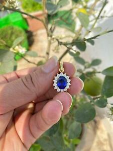 2 Carat Oval Cut Blue Sapphire Halo Pendant With Chain 14K Yellow Gold Finish