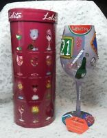 "Lolita Love My Wine ""21"" Birthday Hand Painted 15 oz Wine Glass w/ Recipe"