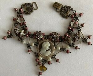 Vintage Colleen Toland Cameo Floral Beaded Bracelet Very Ornate