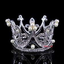 4cm High Kids Flower Girl Baby Full Crystal Circle Round Mini Tiara Crown