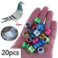 20PCS 8mm Bird Leg Rings Bands for Racing Pigeon Parrot Finch Canary Hatch