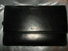 Coach Black Leather Women's Trifold Wallet w snap and compartments