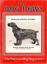 Vintage Dog News Magazine January 1939 English Cocker Spaniel Cover