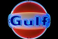 """New Gulf Gas & Oil Station Neon Light Lamp Sign 19""""x19"""" Glass Bar Beer"""