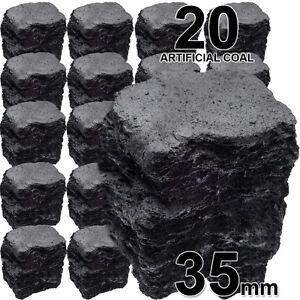 Gas Fire Coals 20 Replacement Ceramic Fibre Imitation Effect Coal SMALL 35mm SQ