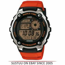Casio AE2100W-4AVEF Homme Collection Temps Du Monde LCD Montre │ Orange Bracelet