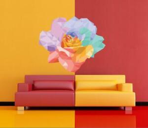 Low Poly Rose vinyl sticker, Rose Flower Polygonal vinyl decal, Flowers Wall