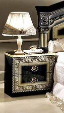 New Daya Italian Black/Gold 2 Drawer Night Stand Assembled Bedroom Furniture