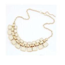 2016 Fashoin Women's Crystal Statement Bib Pendant Chain Chunky Choker Necklace White