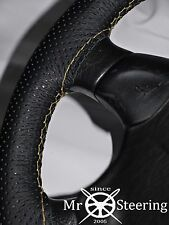 FOR NISSAN SILVIA S12 PERFORATED LEATHER STEERING WHEEL COVER CREAM DOUBLE STCH