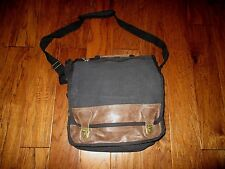 EURO STYLE MESSENGER BAG BLACK CANVAS WITH LEATHER TRIM