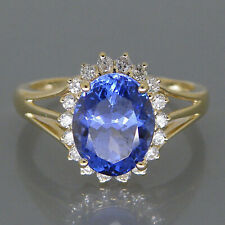 1.60Ct EGL Certified White Diamond And Natural Blue Tanzanite Ring In 14KT Gold