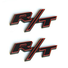 2x OEM RT R/T Emblems for Dodge Challenger L Chrysler Charger Red Frame RT R/T