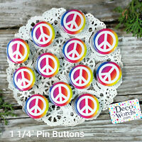 "12 New Rainbow PEACE SIGN Pins 1 1/4"" Pinback Buttons * Party Favor Gift USA"