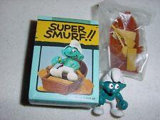 VINTAGE 1980's SCHLEICH PEYO SUPER SMURF ROW BOAT NIB NEW