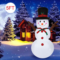 5Ft Christmas Inflatable Snowman With Sign Blow Up LED Lights Outdoor Yard Decor