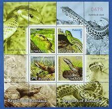Rumänien Romania 2011 Schlangen Snakes Reptilien Reptiles Block 489 MNH A: 1000