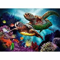 "Full Round Drill 5D DIY Diamond Painting ""Turtle family"" 3D Embroidery Cros X3I1"