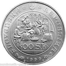 SLOVAKIA 500 KORUN 1999 Silver BU 500th Anniversary - First Thalers of Kremnica