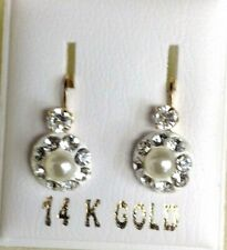 New 14kt Yellow Gold Pearl Antique Style Euro Mini Earrings