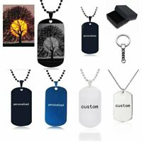 Engraved Personalized Dog tag Pendant Photo Custom Stainless Steel Necklace Key