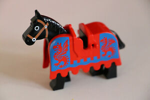 LEGO CASTLE RED DRAGON HORSE BARDING (2490pb02) & BLACK HORSE WITH BROWN BRIDLE.
