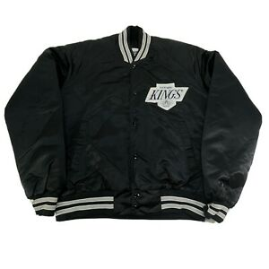 Los Angeles Kings Chalk Line NHL 90s Black Satin Mid Weight Quilted Jacket Large