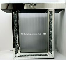 Mirrored Console Table Sparkly Silver Diamond Crush Crystal LED Fire Surround